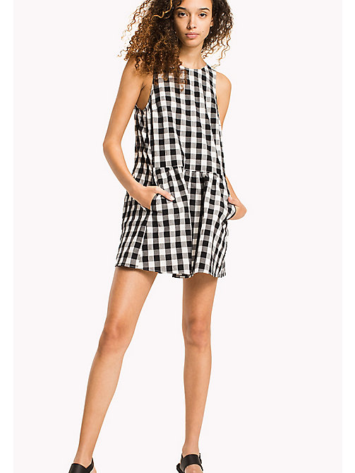 TOMMY JEANS Gingham Check Seersucker Dress - TOMMY BLACK / SNOW WHITE -  Vacation Style - main image