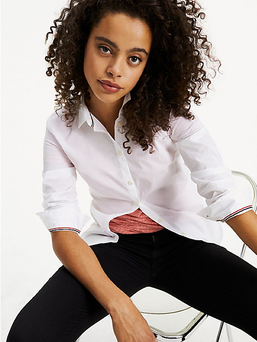 TOMMY JEANS Stretch Cotton Regular Fit Shirt - CLASSIC WHITE - TOMMY JEANS Tops - main image
