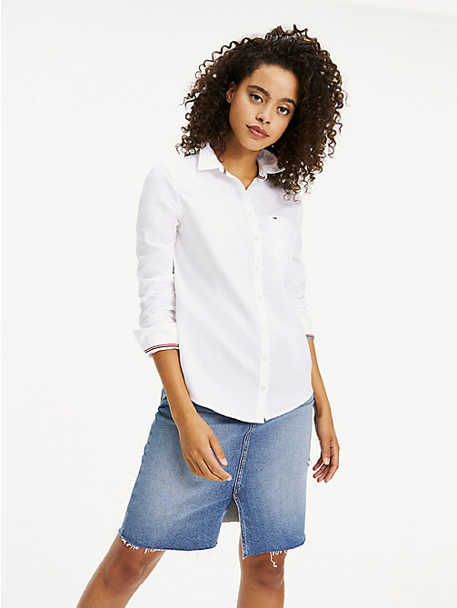 TOMMY JEANS Pure Cotton Oxford Shirt - CLASSIC WHITE - TOMMY JEANS Tops - main image