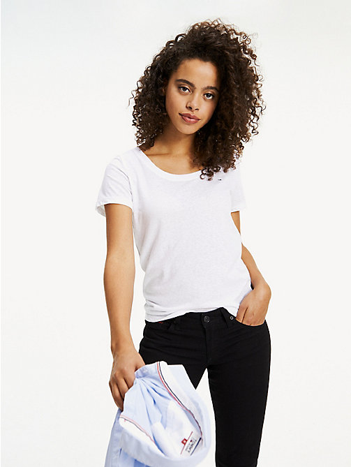 TOMMY JEANS Crew Neck T-Shirt - CLASSIC WHITE - TOMMY JEANS Tops - main image