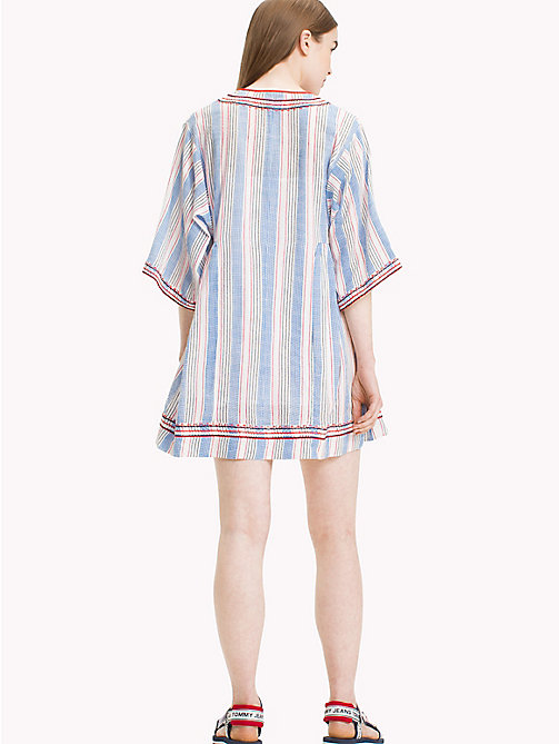 TOMMY JEANS Stripe Kaftan Dress - BLITHE / POPPY RED MULTI - TOMMY JEANS Festivals Season - detail image 1