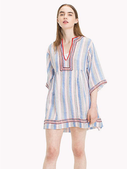 TOMMY JEANS Stripe Kaftan Dress - BLITHE / POPPY RED MULTI - TOMMY JEANS Festivals Season - main image