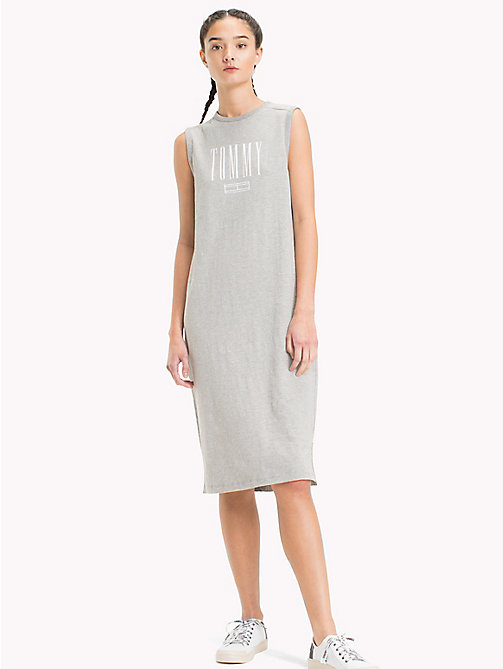 TOMMY JEANS Logo Tank Dress - LIGHT GREY HTR BC03 - TOMMY JEANS Midi - main image