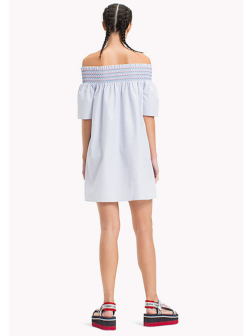 TOMMY JEANS Off The Shoulder Summer Dress - BRIGHT WHITE  / SERENITY - TOMMY JEANS Shirt Dresses - detail image 1