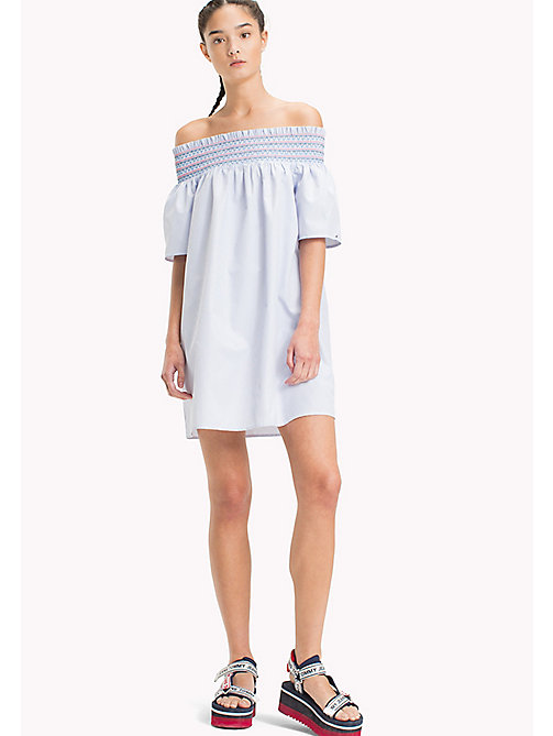 TOMMY JEANS Off The Shoulder Summer Dress - BRIGHT WHITE  / SERENITY - TOMMY JEANS Shirt Dresses - main image