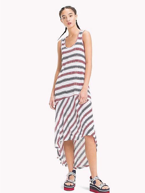 TOMMY JEANS Stripe Jersey Tank Dress - SNOW WHITE / MULTI - TOMMY JEANS Midi - main image