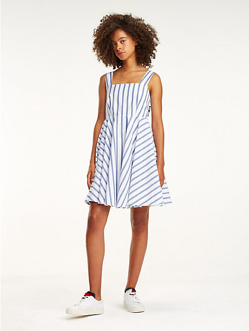 TOMMY JEANS Bow Back Stripe Dress - BLUE PRINT / BRIGHT WHITE - TOMMY JEANS Vacation Style - main image