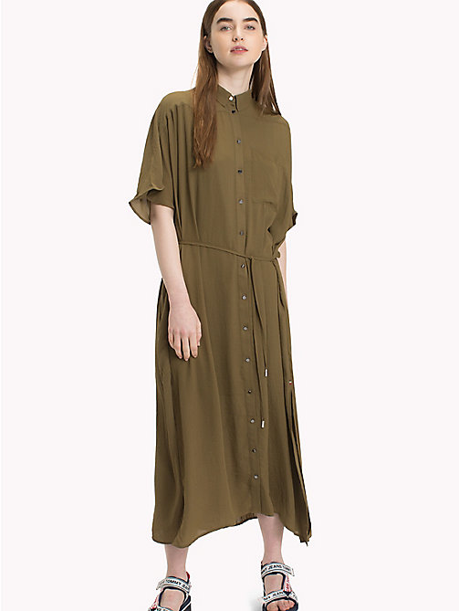 TOMMY JEANS Maxi Shirt Dress - MILITARY OLIVE - TOMMY JEANS Dresses - main image