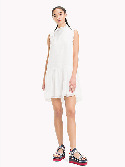 TOMMY JEANS High-Neck Ruffle Dress - SNOW WHITE - TOMMY JEANS Dresses - main image