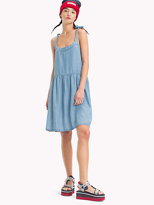 TOMMY JEANS Bow Strap Dress - LT BLUE INDIGO - TOMMY JEANS Mini - main image