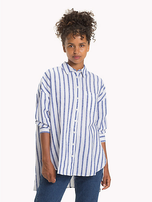 TOMMY JEANS Oversized Stripe Shirt - BLUE PRINT / BRIGHT WHITE - TOMMY JEANS Tops - main image
