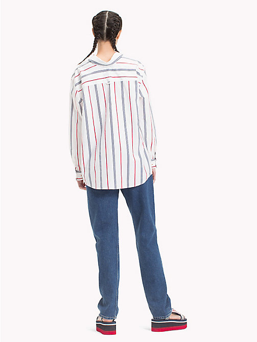 TOMMY JEANS Soft Collar Stripe Shirt - SAMBA/ BRIGHT WHITE/BLACK IRIS - TOMMY JEANS Tops - detail image 1