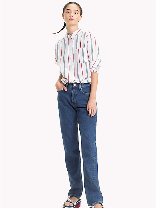 TOMMY JEANS Soft Collar Stripe Shirt - SAMBA/ BRIGHT WHITE/BLACK IRIS - TOMMY JEANS Tops - main image