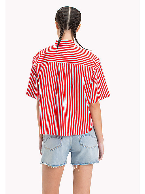 TOMMY JEANS Stripe Relaxed Fit Shirt - POPPY RED / BRIGHT WHITE - TOMMY JEANS Vacation Style - detail image 1