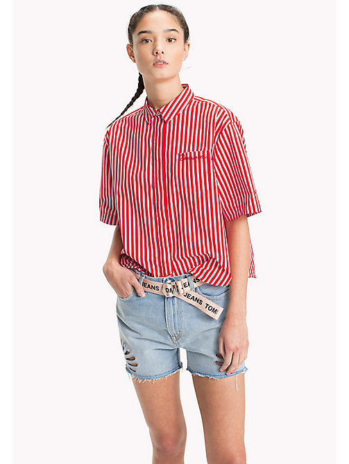 TOMMY JEANS Stripe Relaxed Fit Shirt - POPPY RED / BRIGHT WHITE - TOMMY JEANS Vacation Style - main image