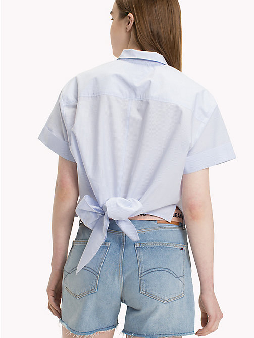TOMMY JEANS Railroad Stripe Bow Shirt - SERENITY / BRIGHT WHITE - TOMMY JEANS Vacation Style - detail image 1