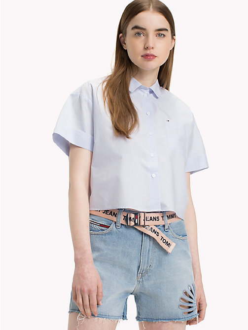 TOMMY JEANS Railroad Stripe Bow Shirt - SERENITY / BRIGHT WHITE - TOMMY JEANS Vacation Style - main image