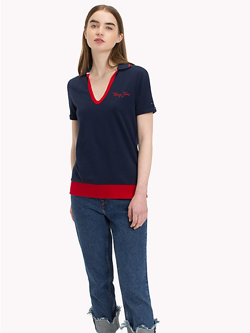TOMMY JEANS Polo a righe - BLACK IRIS - TOMMY JEANS Maglie & Top - immagine principale