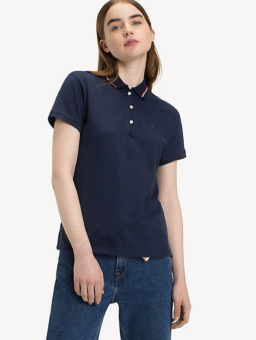 TOMMY JEANS Stripe Cotton Polo Shirt - BLACK IRIS - TOMMY JEANS Tops - main image