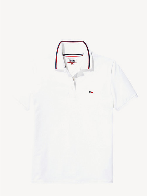 TOMMY JEANS Stripe Cotton Polo Shirt - BRIGHT WHITE - TOMMY JEANS Tops - detail image 1