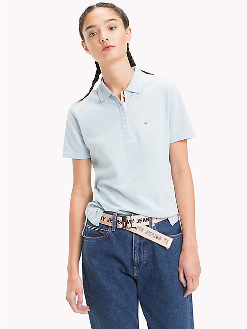 TOMMY JEANS Signature Placket Fitted Polo Shirt - SKYWAY - TOMMY JEANS Sustainable Evolution - main image