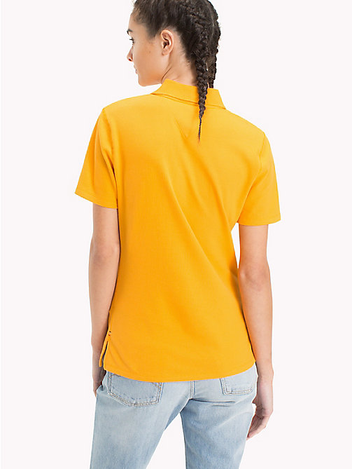 TOMMY JEANS Signature Placket Fitted Polo Shirt - BUTTERSCOTCH - TOMMY JEANS Tops - detail image 1