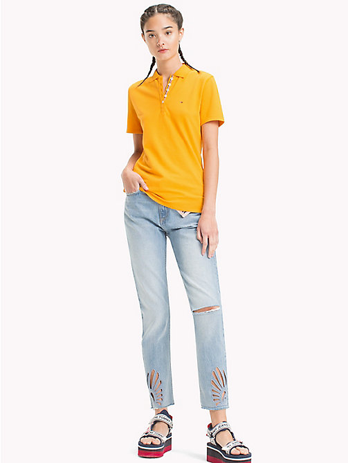 TOMMY JEANS Signature Placket Fitted Polo Shirt - BUTTERSCOTCH - TOMMY JEANS Tops - main image