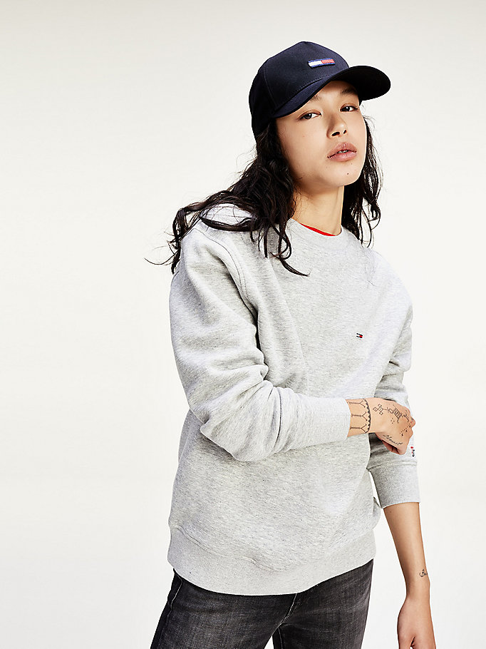 TOMMY JEANS Classic Flag Jumper - BRIGHT WHITE - TOMMY JEANS Women - main image
