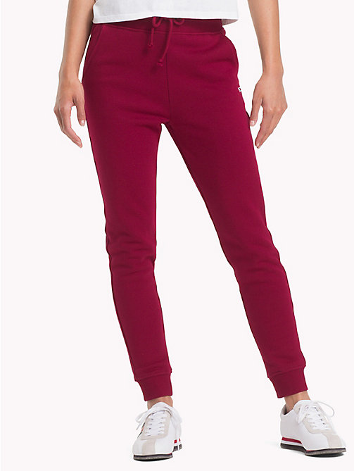 TOMMY JEANS Tommy Classics Monogram Joggers - RUMBA RED - TOMMY JEANS SALE UK - main image