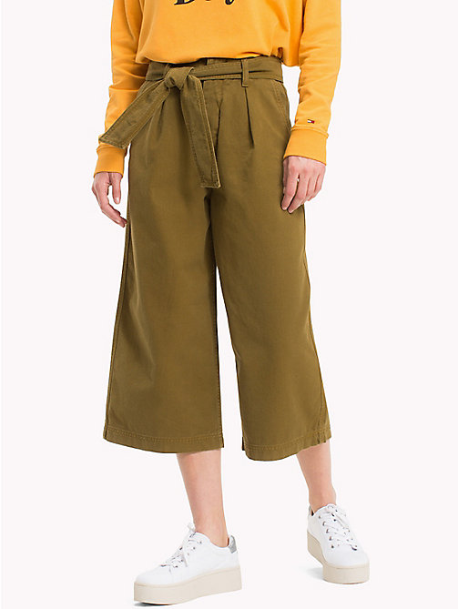 TOMMY JEANS Cropped Bow Pants - MILITARY OLIVE - TOMMY JEANS Trousers & Skirts - main image