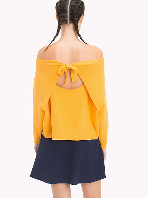 TOMMY JEANS Cropped Bow Back Sweater - BUTTERSCOTCH - TOMMY JEANS Knitwear - detail image 1