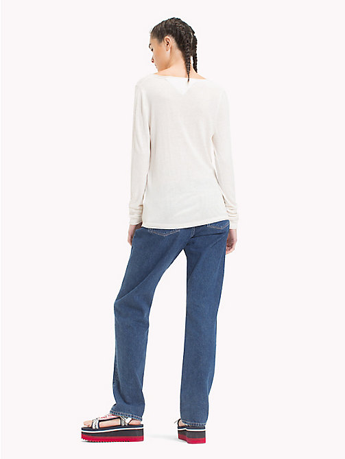 TOMMY JEANS Lightweight V-Neck Jumper - SNOW WHITE HTR - TOMMY JEANS Knitwear - detail image 1