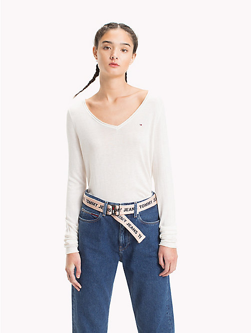 TOMMY JEANS Lightweight V-Neck Jumper - SNOW WHITE HTR - TOMMY JEANS Knitwear - main image