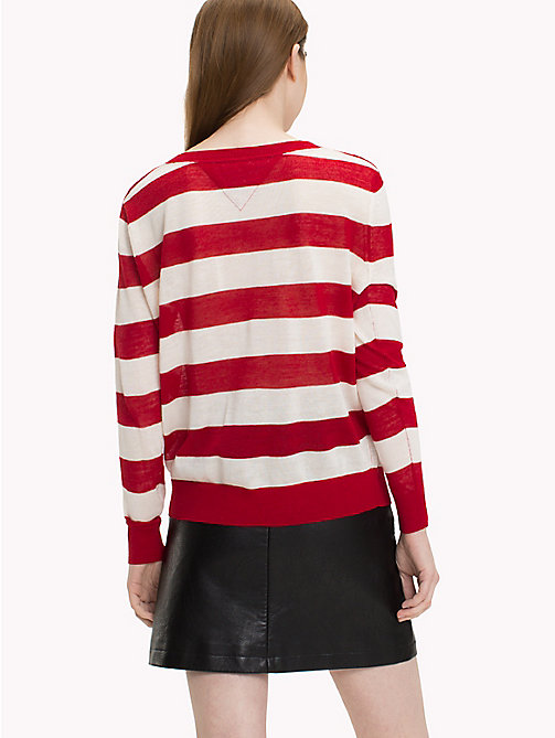 TOMMY JEANS Nautical Jumper - SNOW WHITE  / SAMBA RED - TOMMY JEANS Knitwear - detail image 1