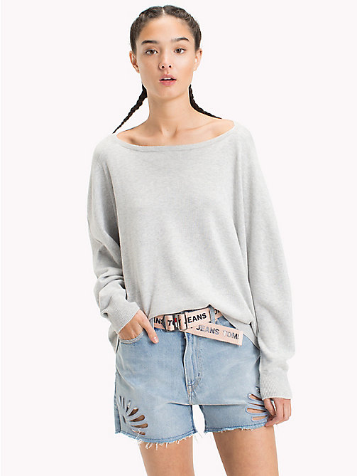 TOMMY JEANS Relaxed Fit Pullover - LIGHT GREY HTR BC03 -  Pullover & Strickjacken - main image
