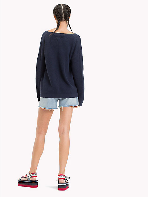 TOMMY JEANS Textured V-Neck Sweater - BLACK IRIS - TOMMY JEANS Jumpers & Cardigans - detail image 1