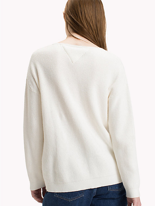 TOMMY JEANS Textured V-Neck Sweater - SNOW WHITE - TOMMY JEANS Jumpers & Cardigans - detail image 1