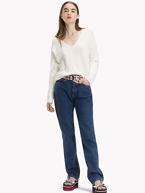 TOMMY JEANS Textured V-Neck Sweater - SNOW WHITE - TOMMY JEANS Jumpers & Cardigans - main image