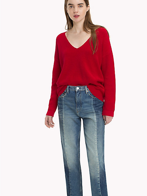 TOMMY JEANS Textured V-Neck Sweater - SAMBA - TOMMY JEANS Knitwear - main image