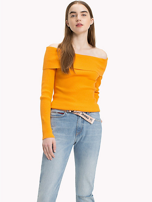 TOMMY JEANS Off-The-Shoulder Sweater - BUTTERSCOTCH - TOMMY JEANS Knitwear - main image