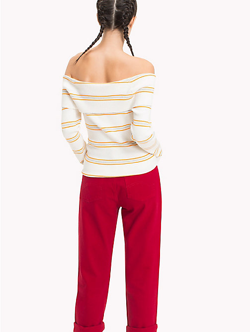 TOMMY JEANS Off-The-Shoulder Sweater - SNOW WHITE / MULTI - TOMMY JEANS Knitwear - detail image 1