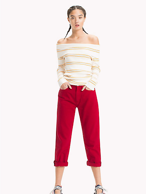 TOMMY JEANS Off-shoulder trui - SNOW WHITE / MULTI - TOMMY JEANS Truien & Vesten - main image