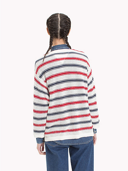 TOMMY JEANS Grobmaschiges Sweatshirt mit Streifen - SNOW WHITE / MULTI - TOMMY JEANS Pullover & Strickjacken - main image 1