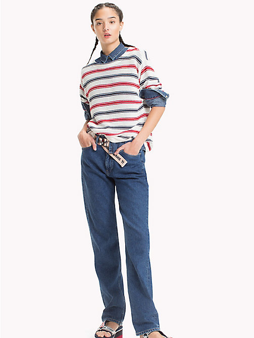 TOMMY JEANS Loose Knit Stripe Sweater - SNOW WHITE / MULTI - TOMMY JEANS Knitwear - main image