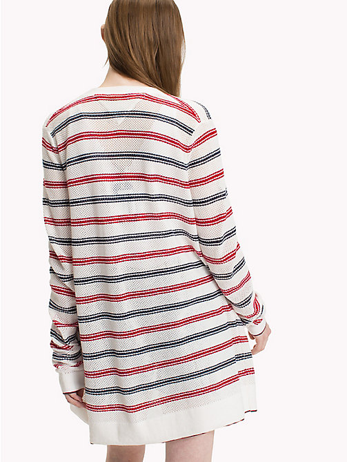 TOMMY JEANS Loose Knit Stripe Cardigan - SNOW WHITE / MULTI - TOMMY JEANS Knitwear - detail image 1