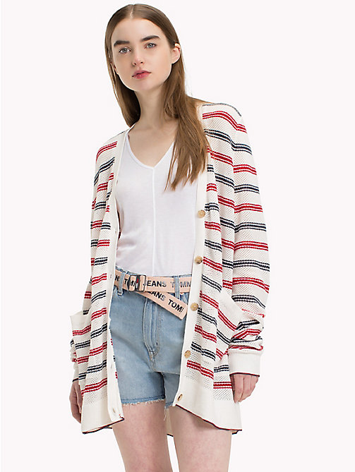 TOMMY JEANS Loose Knit Stripe Cardigan - SNOW WHITE / MULTI - TOMMY JEANS Jumpers & Cardigans - main image