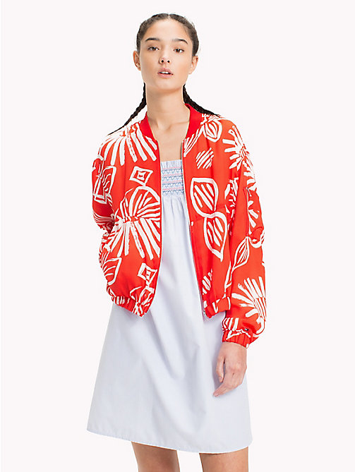 TOMMY JEANS Floral Print Bomber Jacket - NAIVE FLOWER PRINT/POPPY RED - TOMMY JEANS Vacation Style - main image