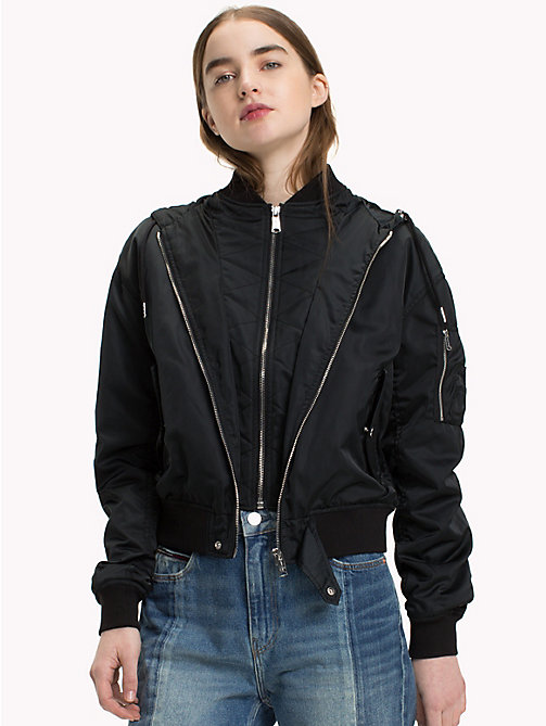 TOMMY JEANS Hooded Bomber Jacket - TOMMY BLACK - TOMMY JEANS Coats & Jackets - main image