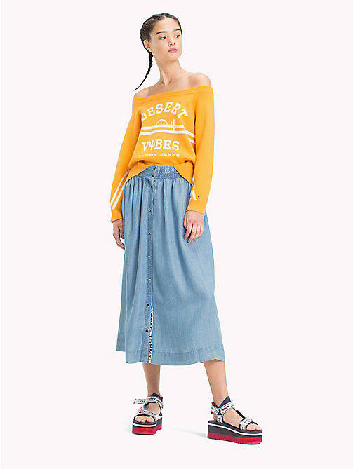 TOMMY JEANS Button Closure Skirt - LT INDIGO - TOMMY JEANS Festivals Season - main image