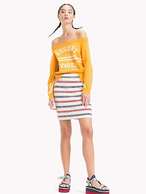TOMMY JEANS Stripe Miniskirt - SNOW WHITE MULTI - TOMMY JEANS Trousers & Skirts - main image